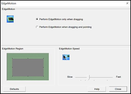 Janela de configurações do EdgeMotion