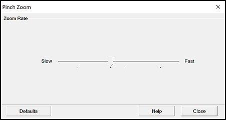 Janela de configurações de Zoom com pinçamento