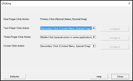 หน้าต่าง Clicking settings (ค่าการคลิกเลือก)