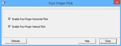 หน้าต่างค่าปรับตั้ง Four-Finger Flick (การตวัดแบบสี่นิ้ว)