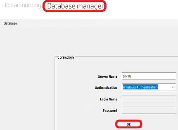 HP Access Control Database manager; login screen