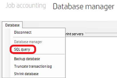 HP Access Control Database manager; selecting the 'SQL query' option