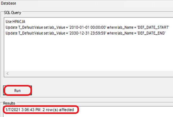 HP Access Control SQL Query window in Database manager; Results pane listing '2 row(s) affected' status