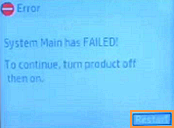 'System Main has FAILED!' error message