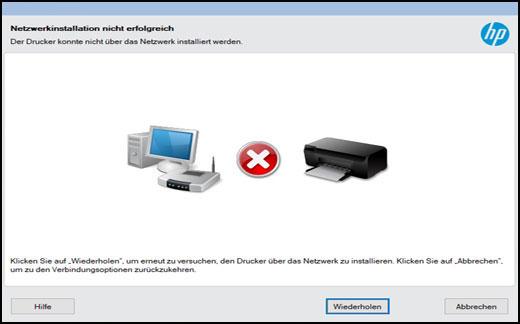 Fenster mit Fehler Netzwerkinstallation nicht erfolgreich