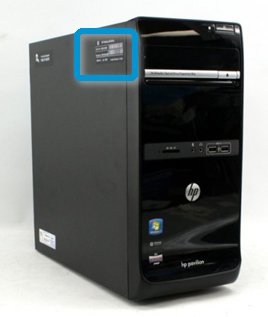 Locating the product information label on the side of an HP desktop computer
