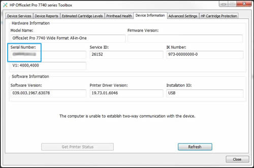 Locating the serial number in HP Printer Assistant software
