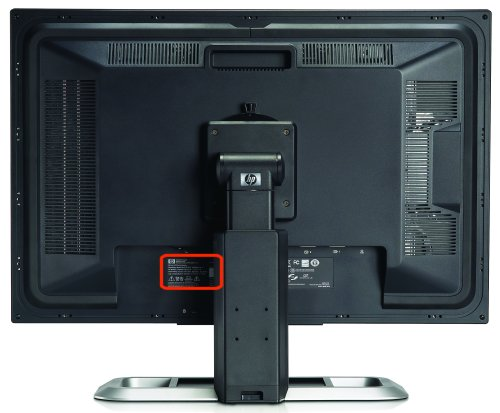 Locating the serial number label on the back of a monitor
