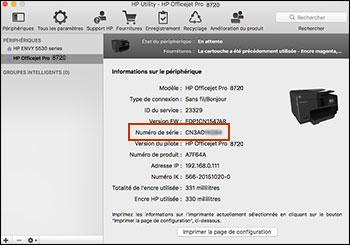 Exemple d'informations sur l'imprimante, dont le numéro de série, mises en surbrillance dans l'utilitaire HP