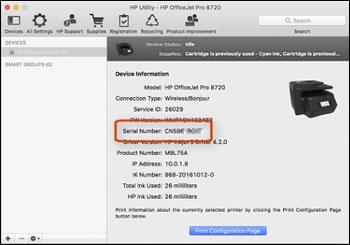 HP Utility uygulamasında yazıcının seri numarasının vurgulandığı görüntü