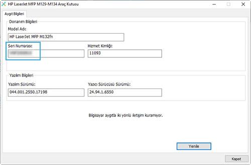 HP LaserJet yazılımında seri numarasını bulma