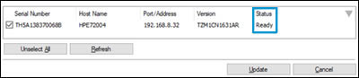 Printer firmware status showing Ready
