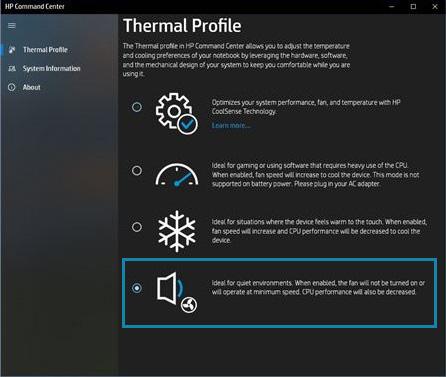 Wybór trybu cichego na karcie Profil termiczny