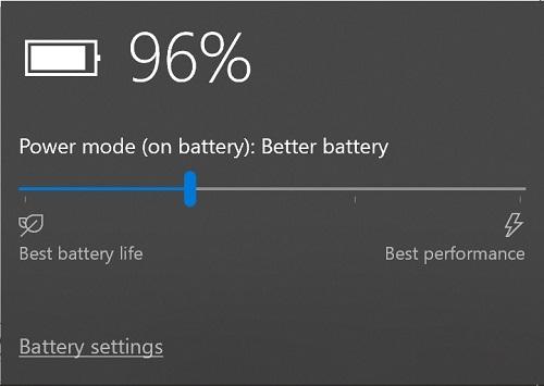 Configurações de bateria