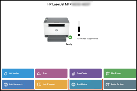 Clicking Print Documents or Print Photos in the HP Smart app