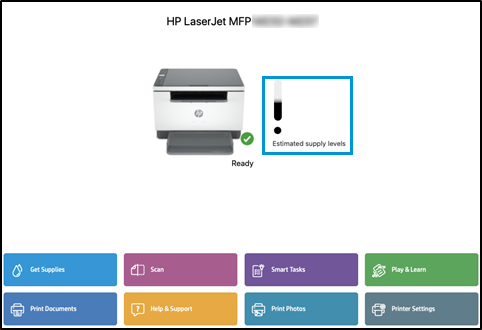 Opening HP Smart app and checking supply levels