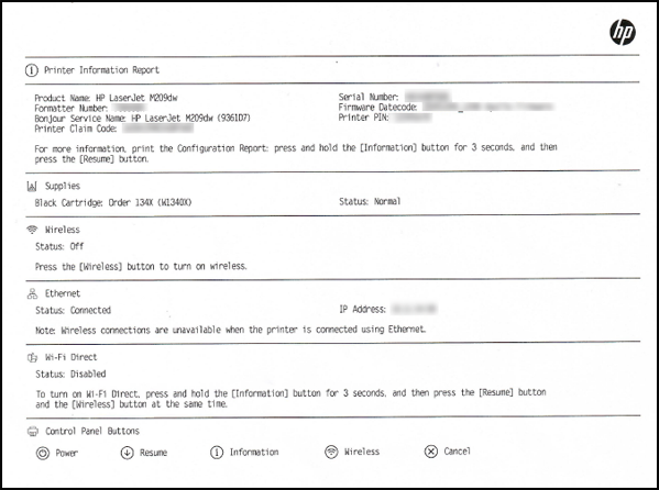 Example of a Printer Information Report
