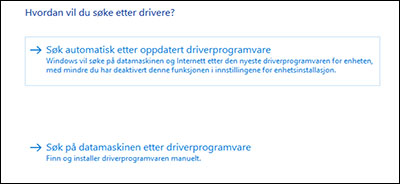 Klikk på Søk automatisk etter oppdatert driver.