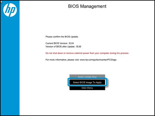 Select the BIOS Image to apply