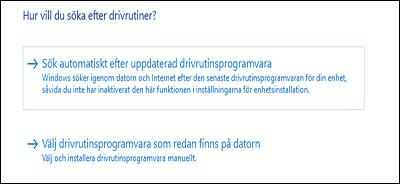 Klicka på Sök automatiskt efter uppdaterade drivrutiner.