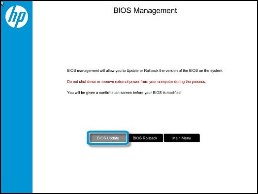 Clicking BIOS Update in the BIOS Management window