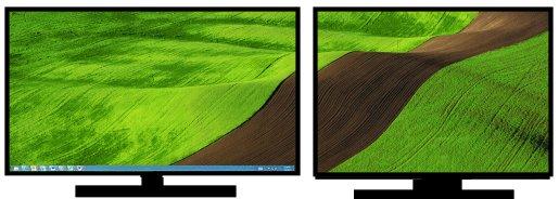 En bild över två bildskärmar