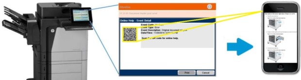 Scan a QR code on the printer control panel to retrieve troubleshooting information