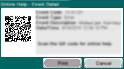 Example of a QR code on a touchscreen printer control panel