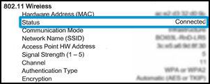 A Wireless Status of Connected on the Network Configuration Page