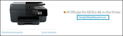 Ubicación de dirección de correo electrónico de la impresora en el sitio web de HP Smart