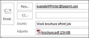 Ejemplo de correo electrónico de trabajo de ePrint