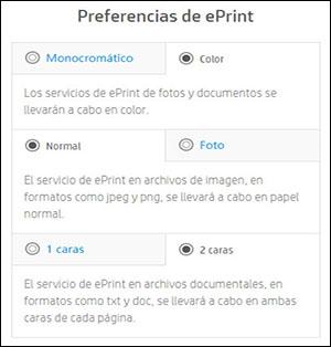 Ejemplo de preferencias de ePrint