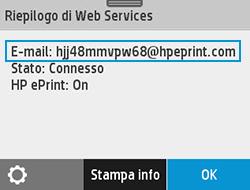 Esempio di indirizzo e-mail della stampante nella schermata dei servizi Web