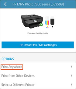 Menü Print Anywhere in HP Smart