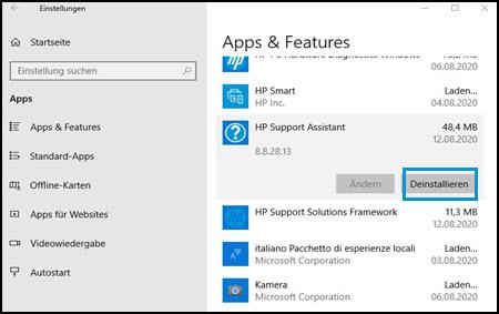 Klicken auf Deinstallieren unter Apps und Features