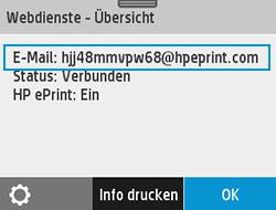 """Beispiel für eine Drucker-e-Mail-Adresse auf dem Bildschirm """"Webdienste"""""""