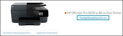 Adresse électronique de l'imprimante sur le site Web HP Smart