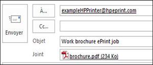 Exemple d'un e-mail de tâche ePrint