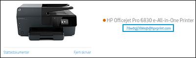 Plassering av skriverens e-postadresse på HP Smart-nettsted