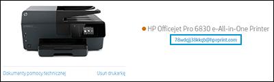Lokalizacja adresu e-mail drukarki na stronie internetowej HP Smart