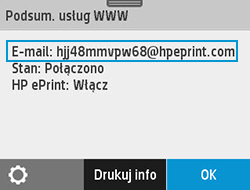 Przykład adresu e-mail drukarki na ekranie Usług sieci Web