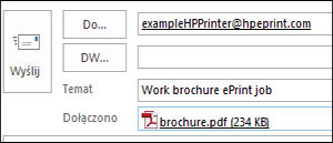 Przykład wiadomości e-mail z zadaniami ePrint
