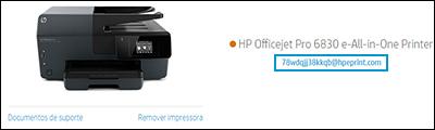 Localização do endereço de e-mail da impressora no site HP Smart
