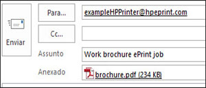Exemplo de um e-mail de trabalho ePrint