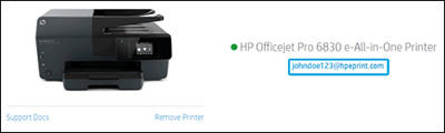 HP Smart 網站上的印表機電子郵件地址的位置