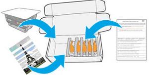 A régi alkatrészek, az űrlap és a nyomtatási minta táskába helyezése