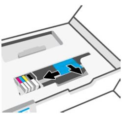 A patrontartó mozgatása balra, és az elakadt papír eltávolítása