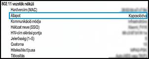 Csatlakoztatott vezeték nélküli állapota a hálózati konfigurációs oldalon