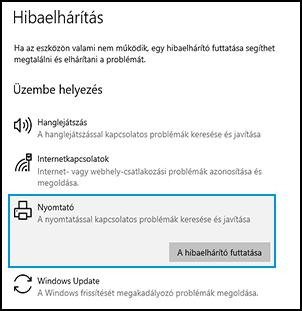 A nyomtató hibaelhárítójának futtatása a Windows rendszerben