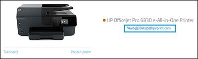 Tulostimen sähköpostiosoitteen sijainti HP Smart -sivustossa